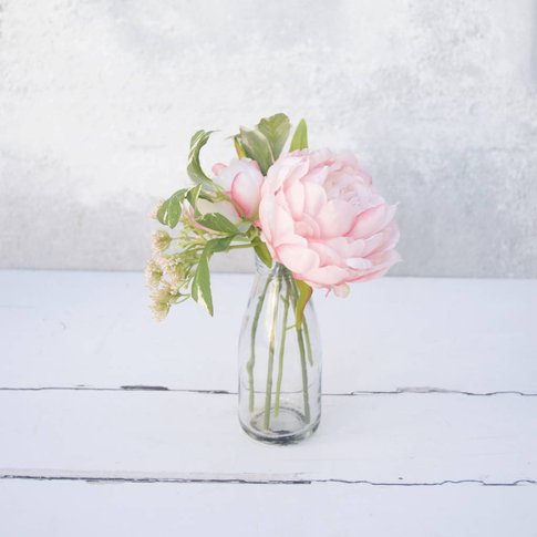 Soft Pink Peony In Milk Bottle Vase