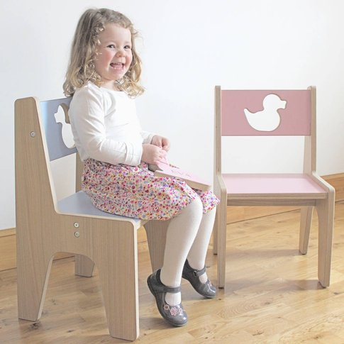 Personalised Wooden Children's Chair, Pastel Pink/Pi...