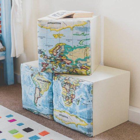 Children's Padded Map Storage Cube