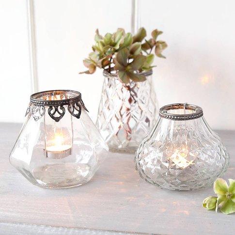 Patterned Glass Tea Light Holder Or Vase