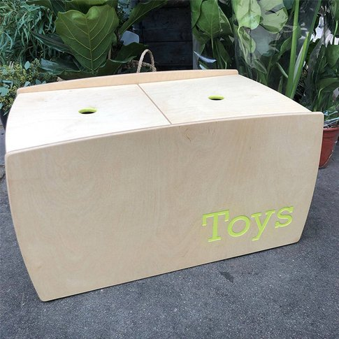 Personalised Wooden Toy Box, Red/White/Lime