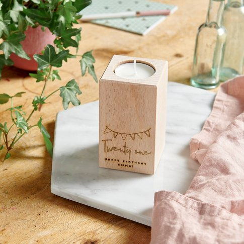 Personalised Wooden Birthday Candle Holder