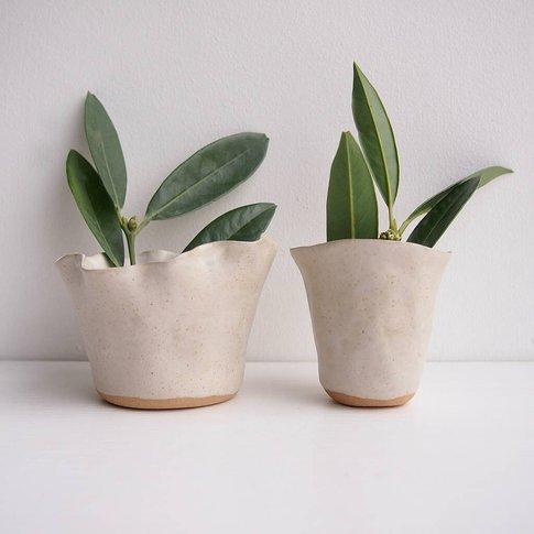 Handmade Mini Oatmeal Pottery Vase
