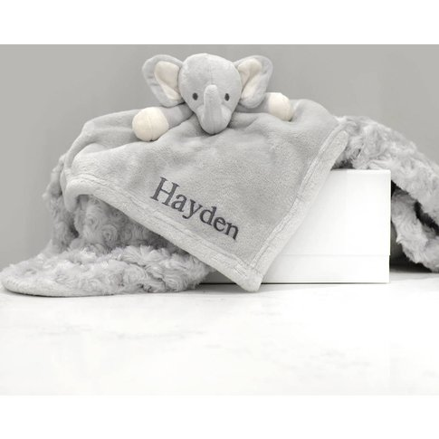 Personalised Elephant Comforter And Blanket Gift Set