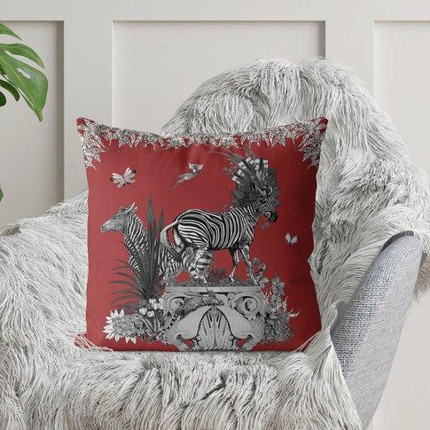 Luxury Velvet Cushion Zebras In Red