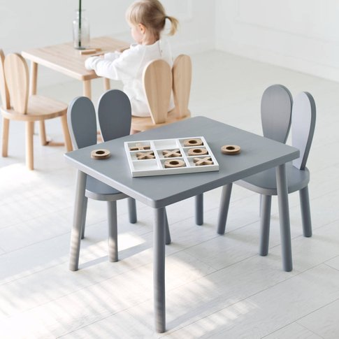 Wood Table And Two Kids Chairs Set