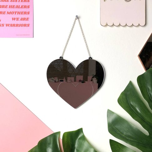 Love Heart Acrylic Hanging Wall Mirror