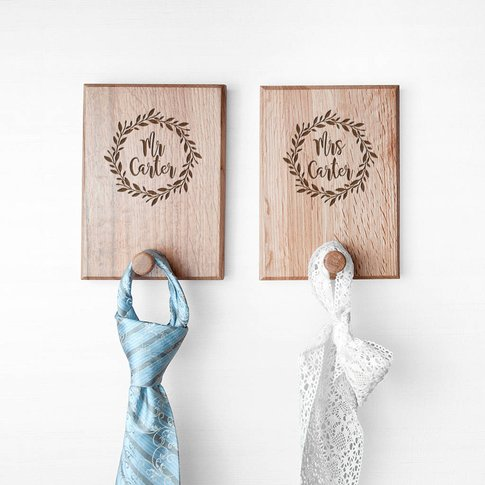 Personalised Couples Oak Coat Hooks