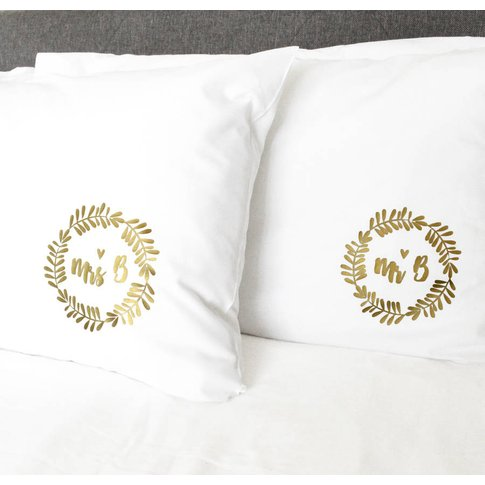 Mr And Mrs Personalised Pillow Cases, Gold/Silver/Br...