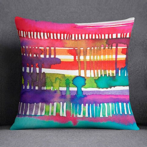 Watercolour Cushion Colourful Weaving Loom Laura Munoz