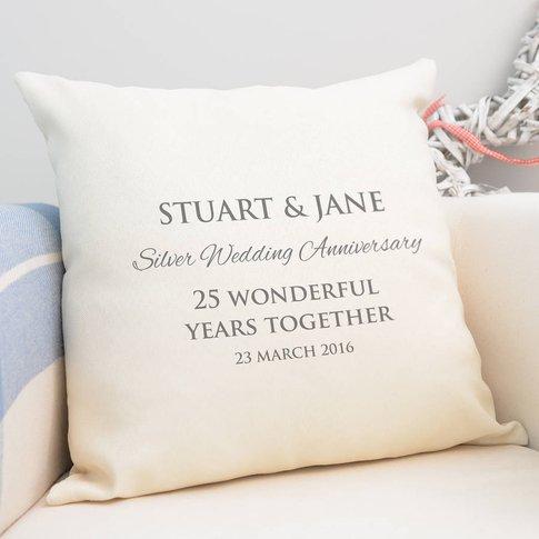 Personalised Silver Wedding Anniversary Cushion