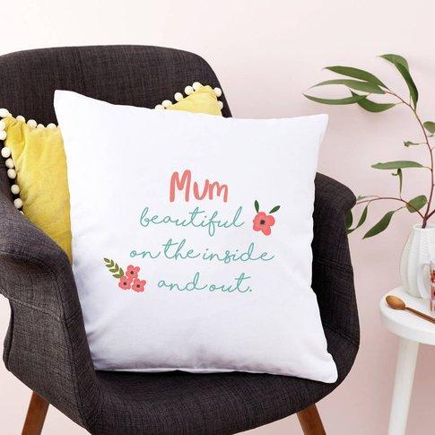 Personalised Floral Mum Cushion, White