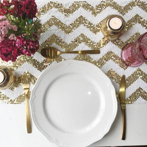 Chevron Sequin Table Runner, Champagne/Blush/Gold