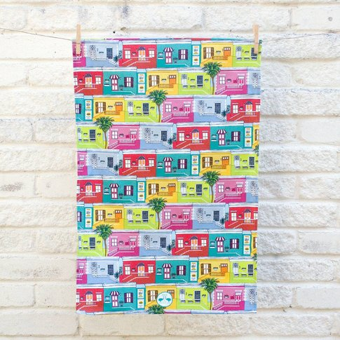 Colourful Cape Town Houses Cotton Tea Towel