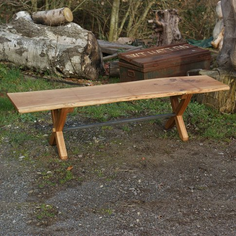 British Made X Leg Oak And Iron Bench