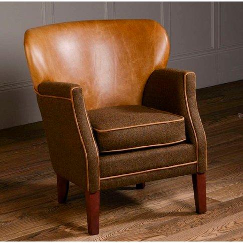 Curved Back Armchair Vintage Leather Or Tweed, Brown...