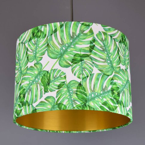 Tropical Print Green Monstera Leaf Lamp Shade, White...