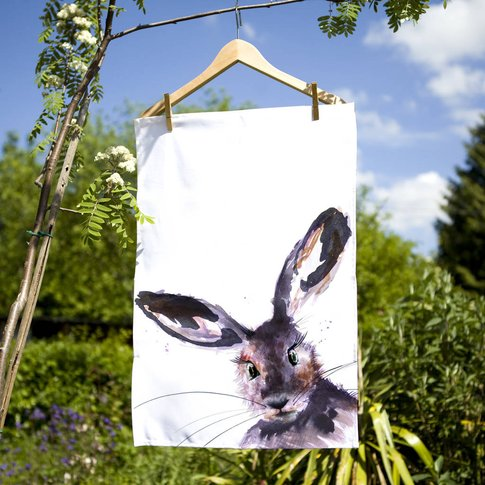 Inky Hare Tea Towel