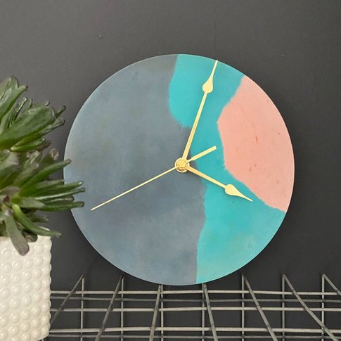 Navy, Teal And Blush Concrete Clock