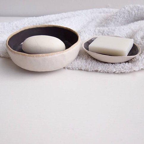 Handmade Grey Gloss Ceramic Soap Dish