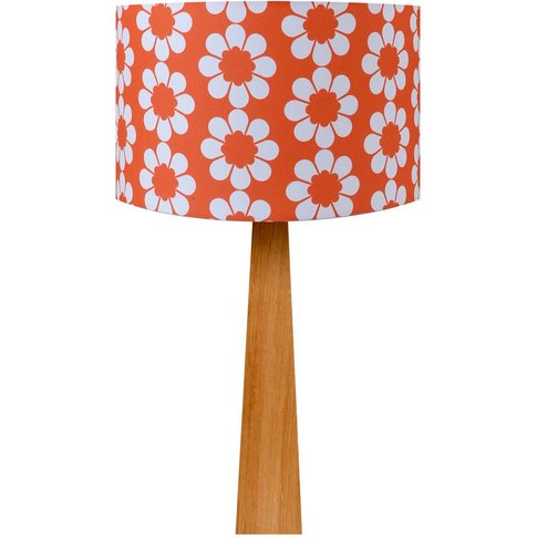 Retro Flowers Red Oak Table Lamp