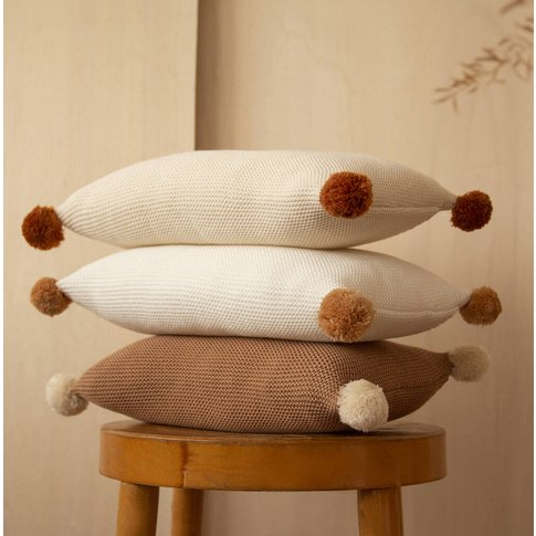 Organic Cotton Knitted Pom Pom Cushion