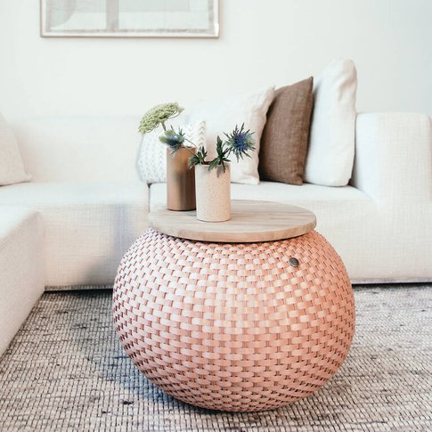 Halo Handwoven Basket Side Table With Wooden Top