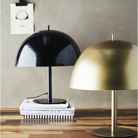 Glossy Black Dome Table Lamp