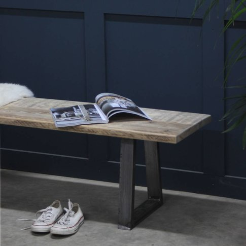 Woburn Reclaimed Wood Bench With Steel U Frame, Blac...