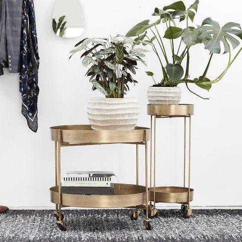 Pale Brushed Gold Bar Cart / Side Table