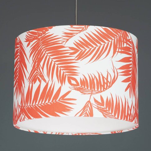 Living Coral Tropical Plant Drum Lamp Shade