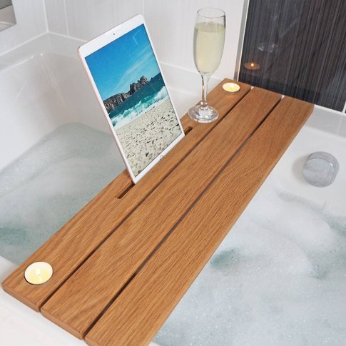 Solid Oak Ipad Bath Caddy With Candle Holder