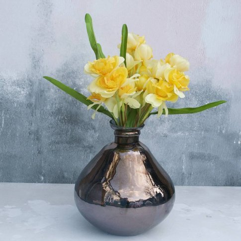 Daffodils In Bowl Glass Vase, Brown