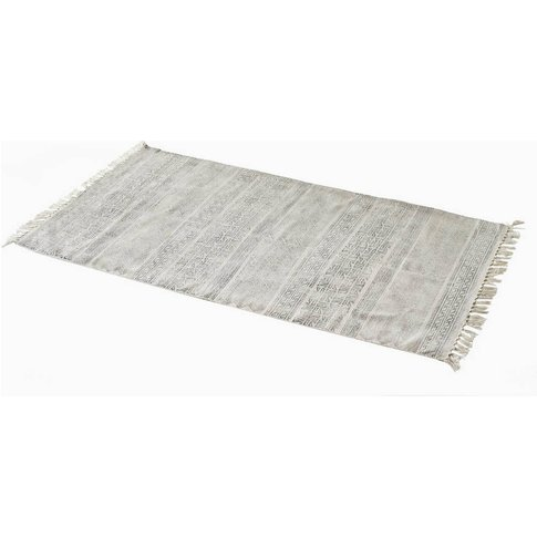 Distressed Printed Cotton Rug