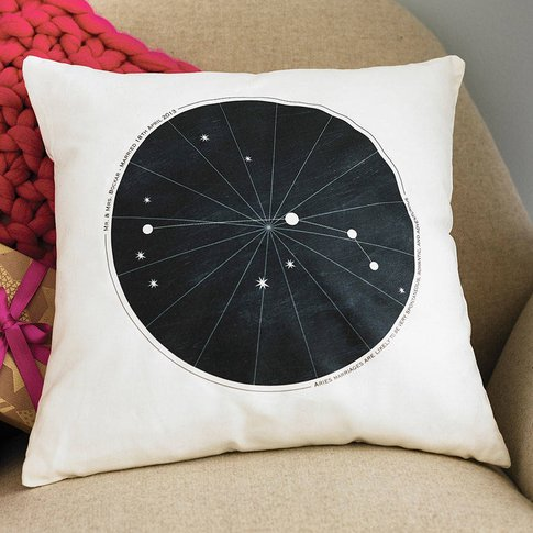 Personalised Wedding Zodiac Cushion, Green/Red