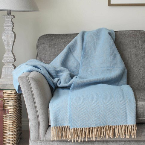 Blue And Wheat Herringbone Wool Throw, Blue