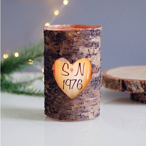 Personalised Wood Heart Valentines Candle Holder