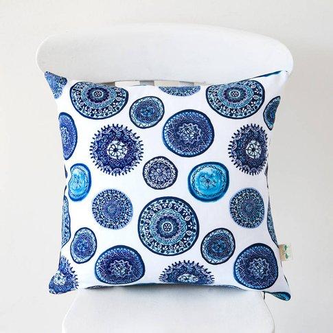 Blue And White Porto Plates Cushion Cover, Blue