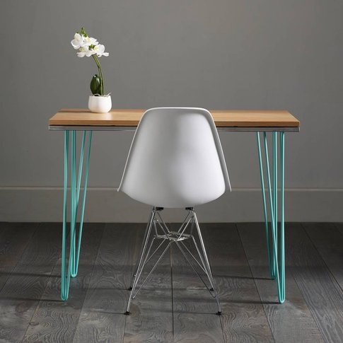 Oak Work Desk With Modern Turquoise Inlay