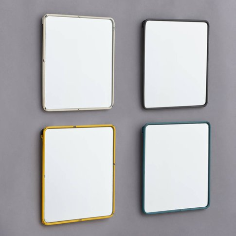 Metal Framed Mirror In Black, White, Blue And Yellow