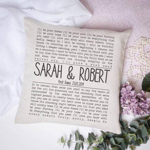 Personalised Song Lyrics Cushion, Black/White