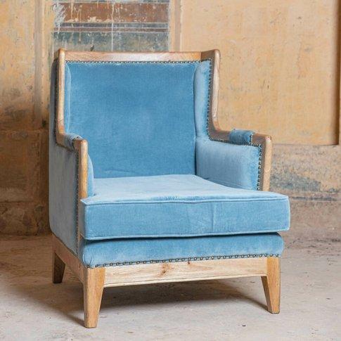 Smoke Blue Camden Velvet Armchair