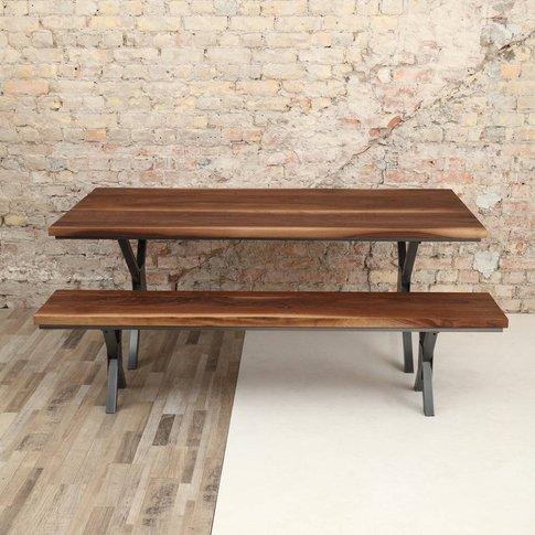 Richmond X Shaped Legs Industrial Walnut Dining Table