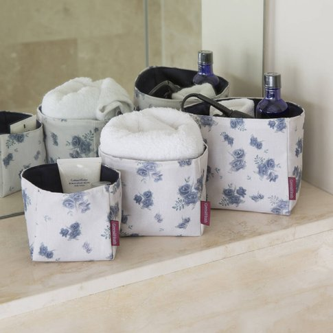 Set Of Three Storage Boxes In Navy Floral Fabric