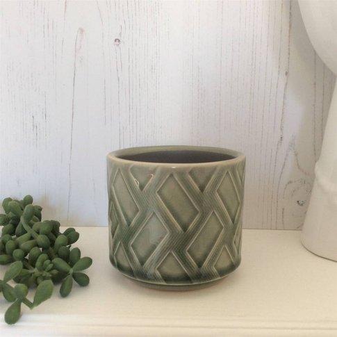 Green Zig Zag Mini Plant Pot Cover