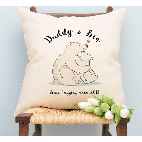 Personalised Bear Daddy And Bear Cub Cushion, Grey/W...