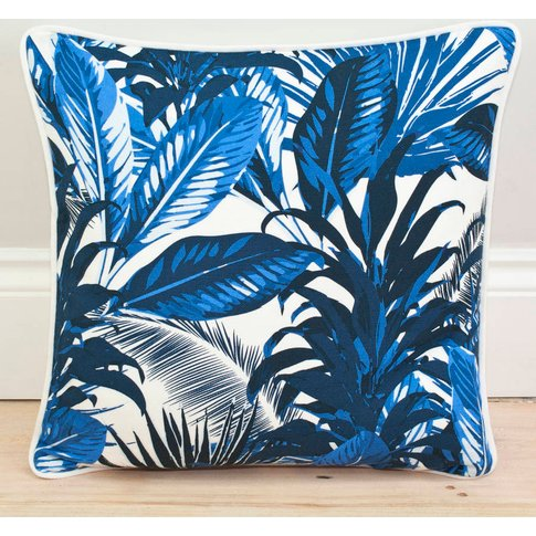 Tropical Palm Print Cushion, Yellow/Azure/Blue