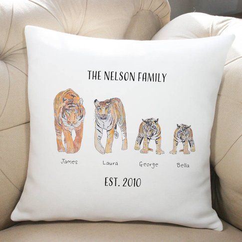 Personalised Tiger Family Cushion, Pink/Chocolate