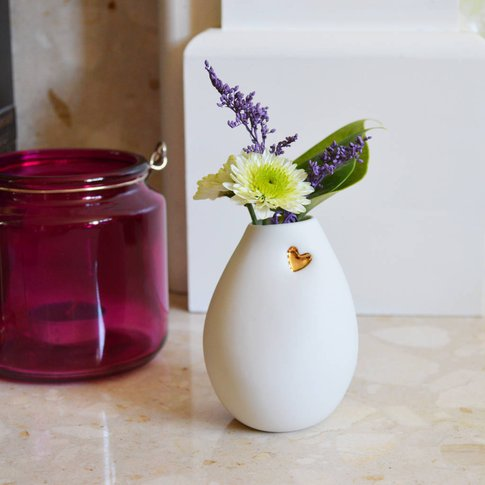 Porcelain Bud Vase With An Embossed Heart