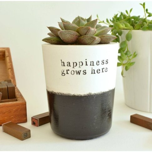 'Happiness Grows Here' Handmade Planter